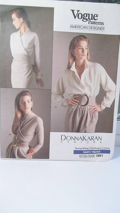 Donna Karan Vogue 1961 High Fashion Sewing Pattern Easy Misses' Loose Fit Wrap Top and Bodysuit with Blouson Bodice Button Cuffs Size 6 - 10