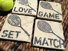 Tennis Love, GAME, SET, MATCH Natural Stone Coaster Collection (4),