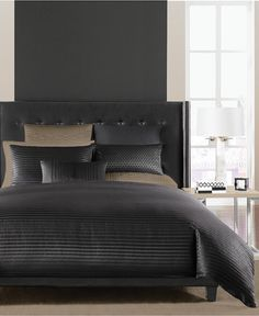 Hotel Collection Onyx Bedding Collection, Created for Macy's - Bedding Collections - Bed & Bath - Macy's Bed Sheets Online, Cheap Bed Sheets, King Comforter, Queen Duvet, Comforter Sets, Comforters Bed, Black Comforter, Grey Duvet, Teal Bedding