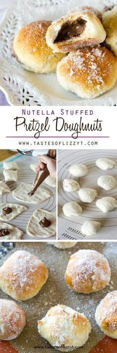 Nutella Stuffed Pretzel Doughnuts {Easy Doughnut Recipe for Kids to Make} A simple pretzel mix gets transformed into these baked Nutella Stuffed Pretzel Doughnuts. Soft, chewy pretzels with sugar coating and a Nutella center. via @tastesoflizzyt