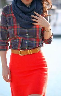 #fall #fashion / tartan print + red