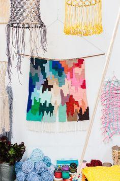 Incredible weavings by Natalie Miller. Photo – Rachel Kara for The Design Files.