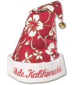 Hawaiian Print Santa Hat