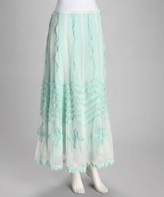 So girly! Seafoam Green Fringe Layered Skirt $20