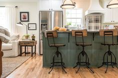 Season 4 of Fixer Upperis well under way, and we are loving so many of the designs already!Today we're going to talk about that gorgeous kitchen and dining room from the recent Graham House renovation! Images courtesy of Magnolia Market, used with permission We are loving that soft green island and the openness and warmth …