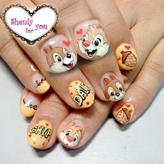 chip and dale nail art by Weiwei - Nailpolis: Museum of Nail Art Disney Acrylic Nails, Best Acrylic Nails, Gel Nail Art, Animal Nail Designs, Best Nail Art Designs, Nail Art Dessin, Mickey Nails, Chip And Dale, Nail Art
