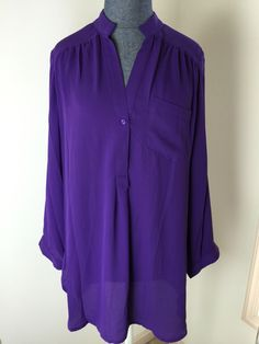Dear Stylist, I have this top in green and would LOVE it in purple!  I love wearing purple.  I NEED this in purple/plum or some shade of the same.  41 Hawthorn Colibri Solid Tab Sleeve Blouse