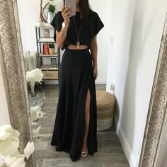 Outfits All Night Wrap Maxi Skirt Does Your Child Need To Go To Preschool? Boho Outfits, Maxi Skirt Outfits, Spring Outfits, Casual Outfits, Cute Outfits, Maxi Skirt Crop Top, Black Maxi Skirt Outfit, Maxi Skirt Style, Split Skirt