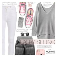 """Street Style"" by pokadoll ❤ liked on Polyvore featuring Converse, Benefit, Yves Saint Laurent and romwe"