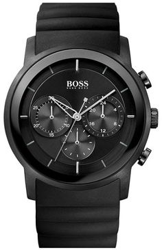 BOSS HUGO BOSS Round Chronograph Rubber Strap Watch, 42mm $350.00 thestylecure.com