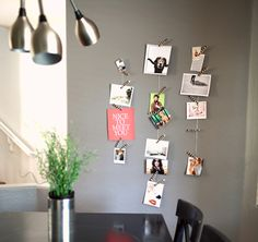 I like this idea for adding pretty pics and quotes on scrapbook paper to decorate your boring dorm walls