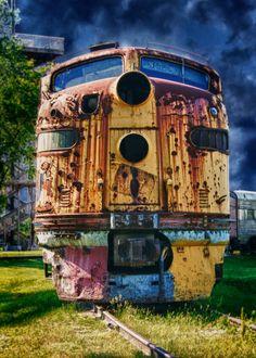 Rusty Locomotive - 5 x 7 HDR photograph - Train Enthusiast - Home Decor. $15.00, via Etsy.