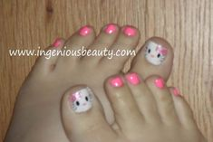 great for kids party Hello Kitty Pedi. great for kids party Pedicure Designs, Toe Nail Designs, Gorgeous Nails, Pretty Nails, Nail Art For Kids, Hello Kitty Nails, Kid Braid Styles, Girls Nails, Toe Nails
