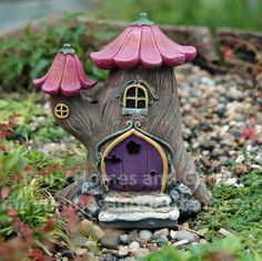 Miniature Fairytale Tree House This whimsical little tree house has a tulip petal roof and chimney cap. This wee fairy cottage is high x wide. Clay Fairy House, Gnome House, Fairy Garden Houses, Fairies Garden, Smurf House, Fairy Crafts, Garden Crafts, Mini Orquideas, Clay Fairies