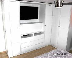 Closet-Centro TV blanco: Vestidores y closets de estilo moderno por Nogal 04