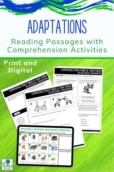 Don't let a taking a sub day put you behind in your science lesson plans. Never lose a day with these fun adaptations activities and reading passages for 4th grade and 5th grade science students. Includes an original text, comprehension questions, sorting activities and a quiz for assessment. Easy to assign with the digital version. Or print out the adaptations activities to use with your kids. Teaching 5th Grade, 5th Grade Science, Science Student, Elementary Science, Elementary Schools, Comprehension Activities, Comprehension Questions, Science Lesson Plans, Science Lessons