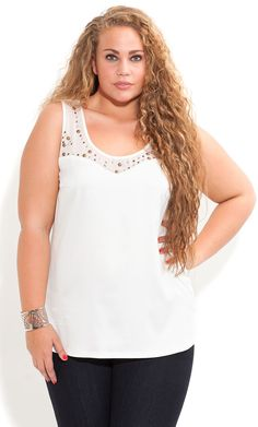 City Chic - Stud Mesh Trim Top - Women's plus size fashion