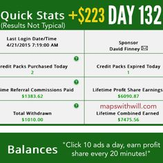 Day 132 of earning profit share every 20 minutes. Over $6,000 in Profit Share earnings achieved! Watch me or join me? www.mapswithwill.com