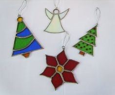 Stained Glass Christmas Ornaments - Suncatchers - Set of  4 (n2)