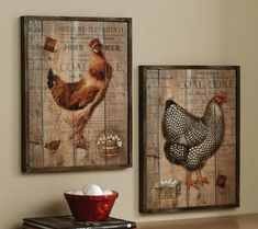 Rustic Rooster And Hen French Country Wall Decor.  Black & white Hen would match many items available.