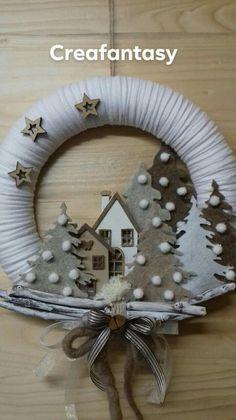 Christmas Sewing, Kids Christmas, Handmade Christmas, Christmas Wreaths, Wreath Crafts, Christmas Projects, Holiday Crafts, Christmas Candle Decorations, Xmas Ornaments