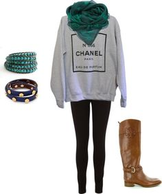 The slouchy sweatshirt, the chunky scarf, the leggings, the colors. This is great.