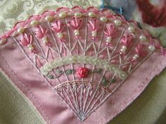 I ❤ crazy quilting . . .   Fan by Lin Moon- Corner motif in encrusted class.