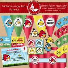 FREE printable Angry Birds birthday party kit.  Cupcake toppers, bunting, paper, fonts, cupcake wrappers, invitation, goodie box