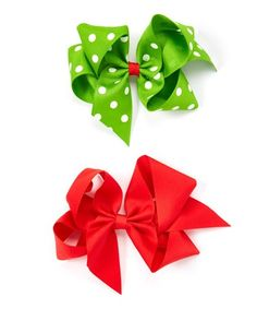 Love this Red & Green Polka Dot Bow Clip Set on #zulily! #zulilyfinds