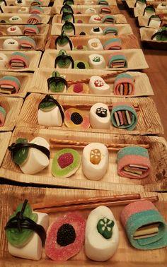 Sushi Cupcakes, Sushi Cake, Sushi Party, Gummy Bear Candy, Fish Candy, Ninja Birthday Parties, Birthday Treats, Candy Sushi Rolls, Kinds Of Sushi