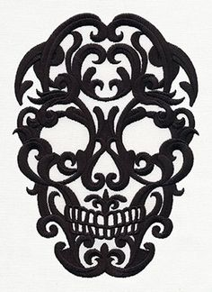 Dark and elegant, this damask-style skull will look spookily sophisticated at any time of year.