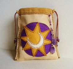 CRESCENT MOON deerskin leather Tarot Oracle bag, Medicine Bag, Spirit Pouch with Amethyst, drawstring SHAMAN bag