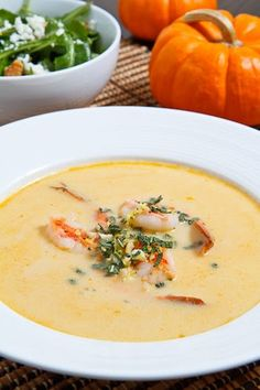 Pumpkin and Shrimp Bisque. I made this last night for my son and husband and they said it was the best soup I ever made. I make soup every week so that is saying a lot. Pumpkin Salad, Pumpkin Soup, Pumpkin Recipes, Fall Recipes, Pumpkin Bisque, Cooking Pumpkin, Seafood Recipes, Soup Recipes, Cooking Recipes