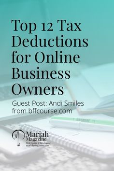 Taxes can be confusing, especially for small online business owners. Save yourself some money and check out these top 12 tax deductions for online business owners! via Mariah Magazine Web Design Developing Small Business Tax, Home Based Business, Business Tips, Online Business, Business Education, Business Hashtags, Business Opportunities, Business Marketing, Wharton Business School