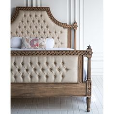 The Amelie Raw Bed by The Beautiful Bed Company, is French in style and boasts carved detailing on both the head and footboard with very cool, driftwood, distressed finish.
