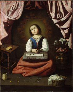 Huile sur toile en 1630 de Francisco de Zurbaran (espagnol Metropolitan Museum of Art – New York – USA Spanish Painters, Spanish Artists, Caravaggio, Virgin Mary, Virgin Oil, Francisco Zurbaran, Oil On Canvas, Canvas Prints, European Paintings