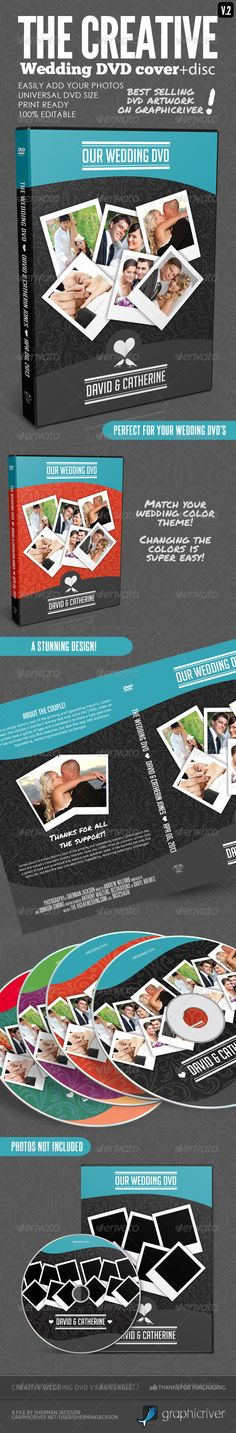 Creative Wedding DVD Covers & Disc Label V.2 — Photoshop PSD #white #creative wedding cards • Available here → https://graphicriver.net/item/creative-wedding-dvd-covers-disc-label-v2/4437574?ref=pxcr