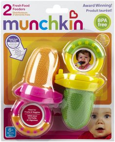 This thing is awesome! Bella LOVES HERS!!   It's a fresh food feeder by Munchkin, you put pieces of fruit/veggies or ice cubes- great for teething..no choking hazard! I've put frozen banana slices in it & she just gums away at it!