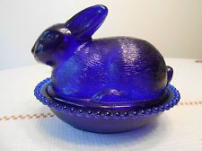 "LARGE Cobalt Blue Glass RABBIT BUNNY ON BASKET NEST Covered Dish 6.75"" - MINT!"