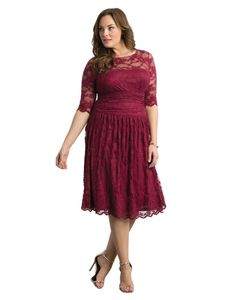 Kiyonna Women's Plus Size Luna Lace Dress 1X Rose Wine