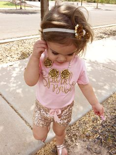 Just ordered matching sparkle babe shirts for Evelyn and sister! Now I just need those shorts! Little Girl Outfits, Little Girl Fashion, My Little Girl, My Baby Girl, Toddler Fashion, Little Princess, Toddler Outfits, Baby Love, Kids Fashion