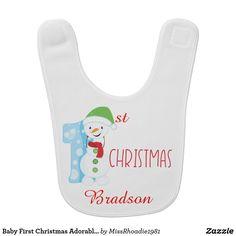 Baby First Christmas Adorable Snow man bib  #babybib #bib #ad