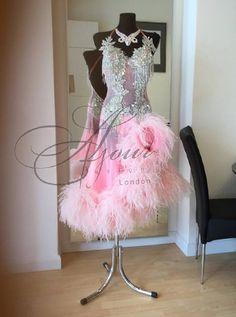 Ajour Design London - white with pink skirt latin dress diagonal feather skirt Latin Ballroom Dresses, Latin Dance Dresses, Ballroom Dancing, Junior Dresses, Prom Dresses, Formal Dresses, Latina, Feather Skirt, Dance Fashion