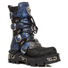 Mécanique Boots 20-trou cuir gothique bottes avec boucles 5 et Capuchon Acier