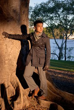 Men's winter style, Roger David scarf and G-Star Raw coat, West End, Brisbane