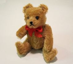 "HERMANN TEDDY BEAR Small 6"" tall Vintage Jointed Mohair  made in Germany. A sweet little pocket ted to carry with you.  Photo via Ebay"