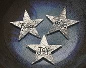 "Christmas Star ""Joy"" Ornament in silver pewter. $14.00, via Etsy."
