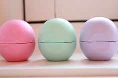 EOS lip balm - I have them everywhere.... my purse, at the office, & just about every room in the house.