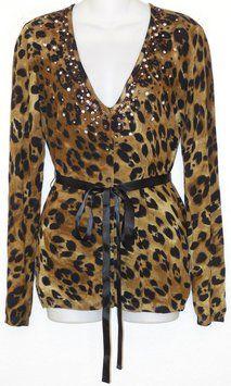 Boston Proper Leopard Jeweled Cardigan