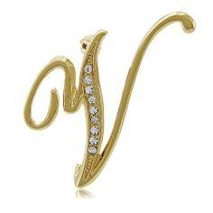 Goldtone Initial Letter Brooch Pin - V, Valentine's Day Gift BERRICLE. $13.99. Gender : Women